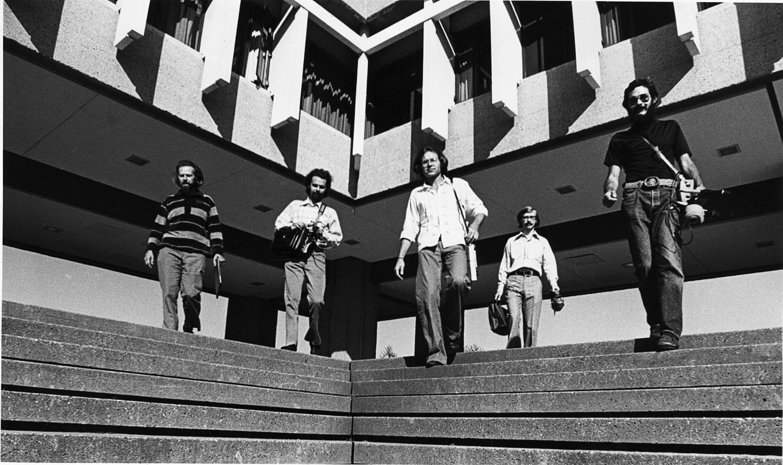 World Soundscape Project group at SFU, 1973 left to right - R. M. Schafer, Bruce Davis, Peter Huse, Barry Truax, Howard Broomfield