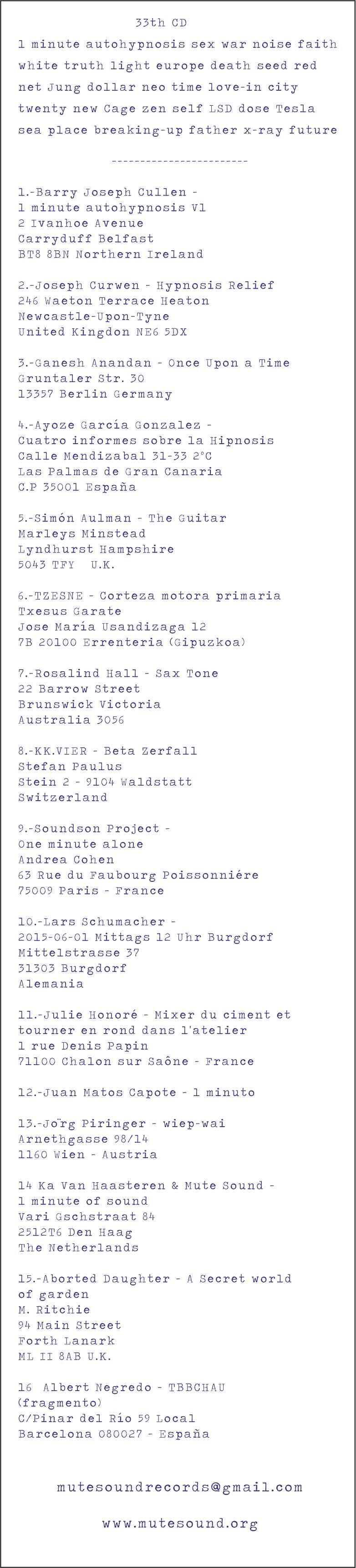 33th CD List